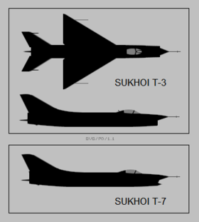 Sukhoi T-3 and T-7 silhouettes.png