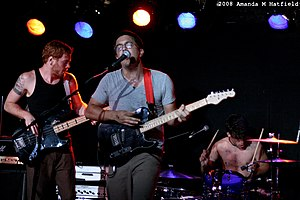 Annuals (band) - Mike Robinson (bass), Kenny Florence (guitar), and Adam Baker (drums) playing as Sunfold at Mercury Lounge on July 26, 2008