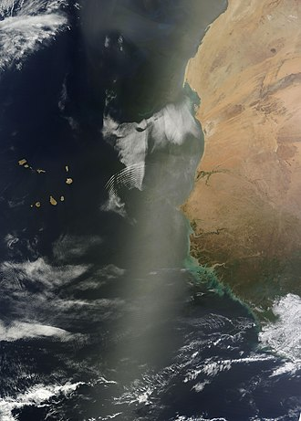 Sunglint - Image: Sunglint off the Western Coast of Africa May 13 2012