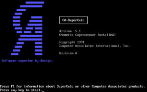 SuperCalc 5.1 for MS-DOS.