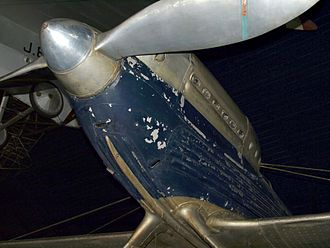 Supermarine S.6B - Forward fuselage and propeller detail of Supermarine S.6B, S1595 on display at the London Science Museum