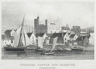 Swansea castle and harbour, Glamorganshire