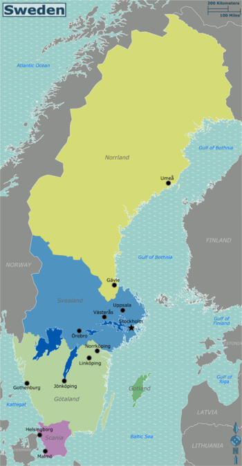Sweden Travel Guide At Wikivoyage - Map 0f sweden
