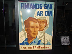 """Sweden and the Winter War - Swedish Volunteer Corps recruitment poster. Translated """"The Finnish cause is yours""""."""