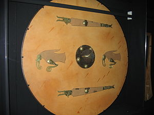 Raven banner - Raven artwork on a Swedish Vendel era shield, at the Swedish Museum of National Antiquities.