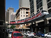 Sydney's monorail avoids switching by operating in a single loop.