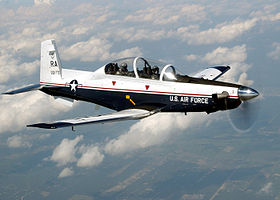 Un T-6A Texan II de l'USAF basé sur la Randolph Air Force Base.