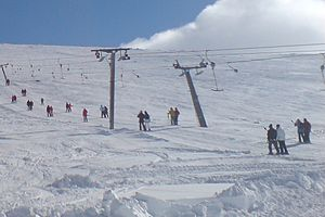 Surface lift - T-bar lift, a style of surface lift, in Åre (Sweden)