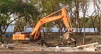 Tata Hitachi Construction Machinery - A TATA Hitachi excavator at work in Hyderabad