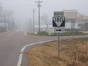 Tennessee State Route 180 - Southern terminus of SR 180 at SR 19 in Nutbush (2007)