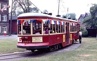 McCaul Loop - Vintage Peter Witt streetcar on 1975 excursion