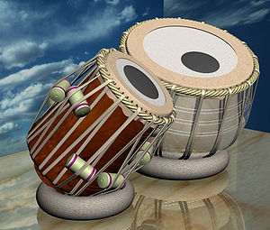 Syahi - Set of tabla, with the syahi applied