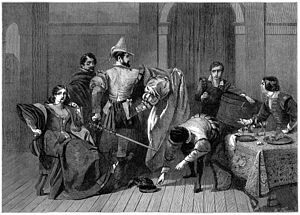 The Taming of the Shrew - C.R. Leslie illustration of Act 4, Scene 3 (Petruchio upbraiding the tailor for making an ill-fitting dress). From the Illustrated London News, 3 November 1886; engraved by William Luson Thomas.