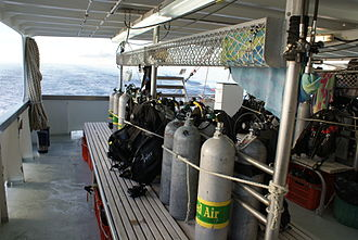Liveaboard - Dive deck of a SCUBA liveaboard boat in the Great Barrier Reef