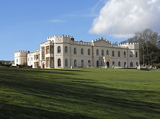 Manor of Tawstock - Tawstock Court, view from south-east. Parts of the Elizabethan building, including large mullioned windows, survive in the south wing (left), which faces the surviving Elizabethan gate-house