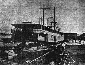 Telephone (sternwheeler) - Telephone No. 3 under reconstruction in June 1903