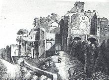 Le terme di Caracalla a Cellomaio in un'incisione anonima del Settecento.