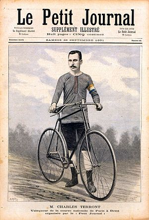 Paris–Brest–Paris - Charles Terront pictured on the front page of Le Petit Journal, 26 September 1891, after his victory.