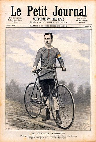 Le Petit Journal (newspaper) - Charles Terront pictured on the front page of the 20 September 1891 edition of Le Petit Journal after his Paris-Brest et retour victory