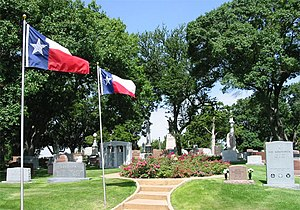 Texas State Cemetery - Texas flags flying at the cemetery