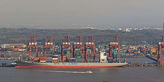 Jawaharlal Nehru Port - A container ship at Nhava Sheva