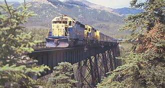 Alaska Railroad - An Alaska Railroad passenger train rolling between Anchorage, Denali National Park and Fairbanks.
