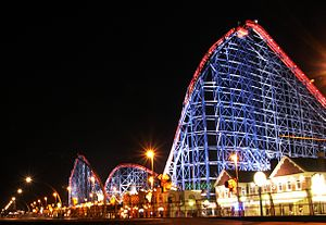 The Big One at night, Blackpool, England