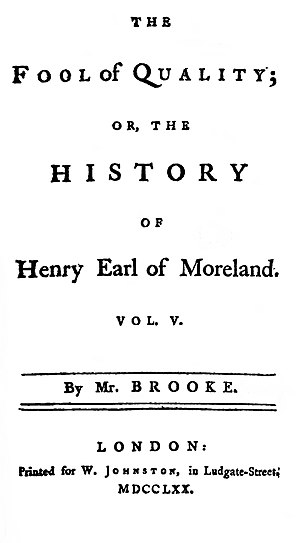 The Fool of Quality - Title page to volume five of the first edition