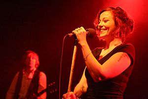 Gothic metal - Lead female vocalists are a common presence in the gothic metal genre. One of the earliest was Anneke van Giersbergen of The Gathering, depicted above.