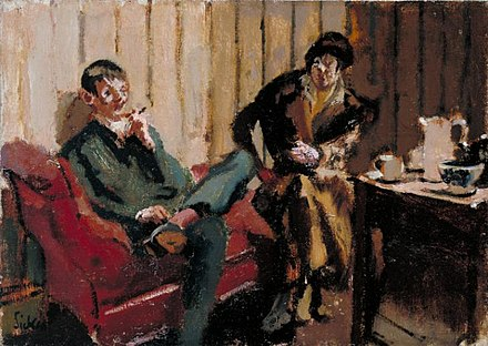 The Little Tea Party Hamnett and her husband by Walter Sickert The Little Tea Party Nina Hamnett and Roald Kristian 1915 16.jpg