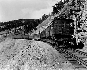 Chicago, Milwaukee, St. Paul and Pacific Railroad - An EF-1 boxcab hauls the Olympian through Montana Canyon in 1925