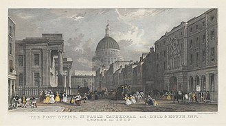 St. Martin's Le Grand - Image: The Post Office, St. Paul's Cathedral, and Bull & Mouth Inn, London in 1829 G J Emblem after Thomas Allom