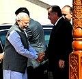 The Prime Minister, Shri Narendra Modi being received by the President of Tajikistan, Mr. Emomali Rahmon, on his arrival, at the Qasr-e-Millat, in Dushanbe, Tajikistan on July 13, 2015 (1).jpg