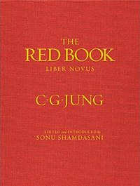 Red book cover with yellow or gold text: 'THE; RED BOOK; LIBER NOVUS; C.G.JUNG; EDITED and INTRODUCED by SONU SHAMDASANI'