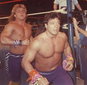 AWA Southern Tag Team Championship - The last champions, the Midnight Rockers (Shawn Michaels (left) and Marty Jannetty (right))