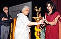 The Union Minister for Culture, Smt. Chandresh Kumari Katoch lighting the lamp to inaugurate the International Seminar on Rajasthani Miniature Painting, in New Delhi on March 20, 2013.jpg