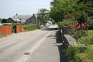 Mitchell, Cornwall - The old course of the A30 (now bypassed) at the west end of Mitchell village