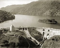 The dam and the Bhim temple at Bhimtal, 1895.jpg
