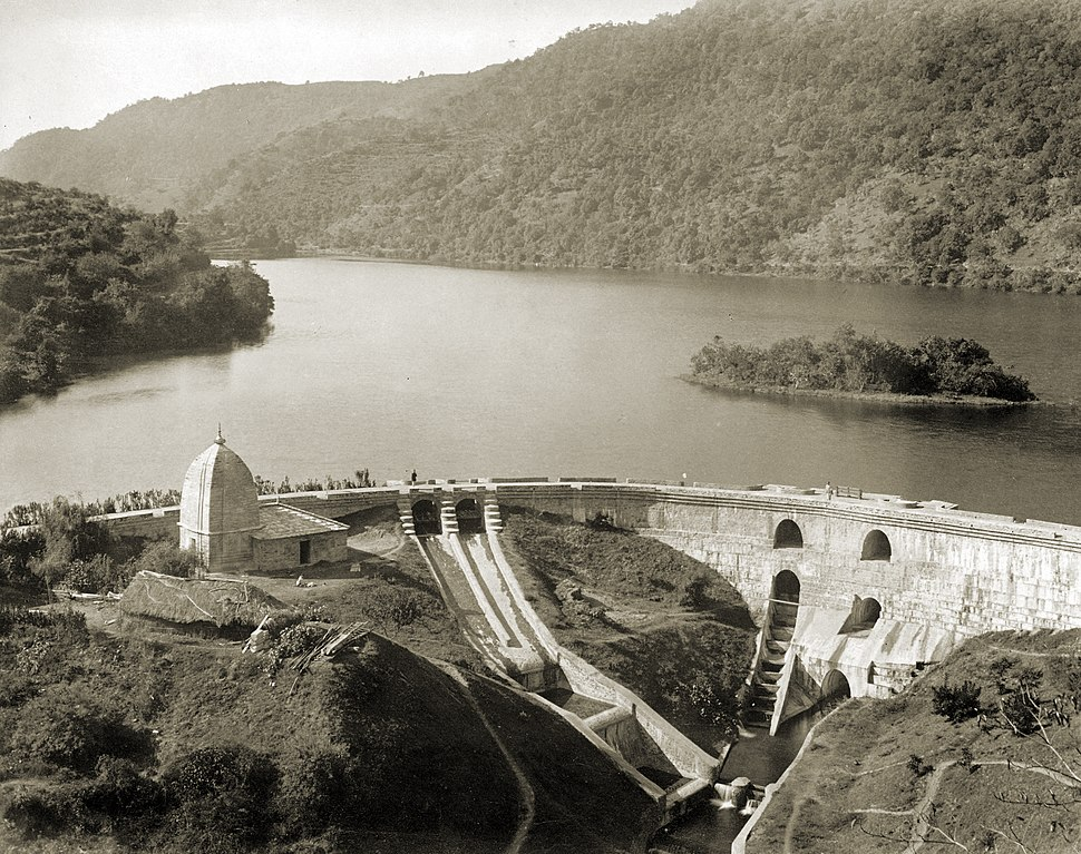 The dam and the Bhim temple at Bhimtal, 1895
