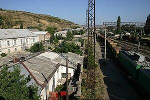 Georgian Railways - Gori station, showing freight yard in 2006