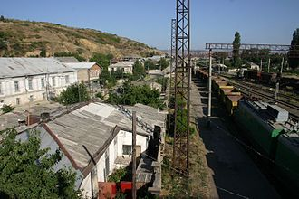 Georgian Railways - Gori station, showing freight yard in 2006