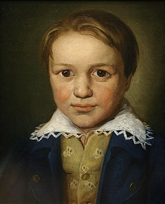 A portrait of the 13-year-old Beethoven by an unknown Bonn master (c. 1783) Thirteen-year-old Beethoven.jpg