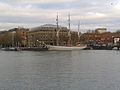Three-masted barque Kaskelot of Bristol (1948) & Arnolfini building, City Docks, Bristol 10.12.2013 001 (11339778345).jpg