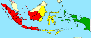 Timezones in Indonesia... Red : UTC+7 (Waktu I...
