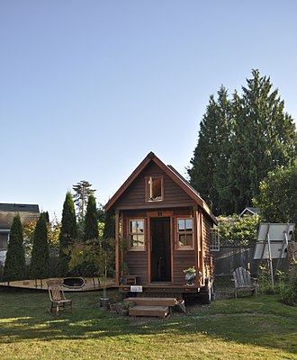 Tiny house movement - A tiny, mobile house in a Portland, Oregon yard.