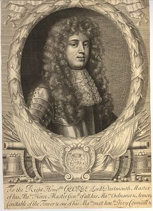 George Legge, 1st Baron Dartmouth - Engraved portrait of Lord Dartmouth by Peter Vandrebanc.