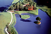 The famous 17th hole of the TPC at Sawgrass Stadium Course.