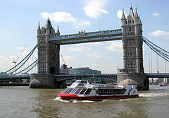 "City Cruises vessel ""Millennium of London"" passes under Tower Bridge"