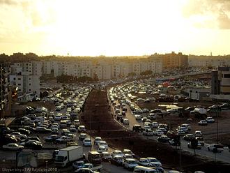 Transport in Libya - Traffic congestion in Bayda, Libya in 2010.