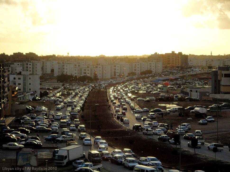 Traffic congestion in Al Bayda, Libya .